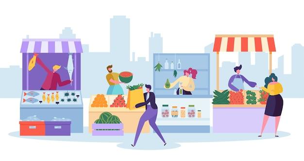 Stand du marché des aliments frais. magasin de ferme locale biologique.