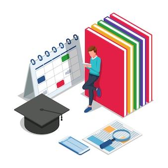 Stand étudiant et lecture de livres. retour isométrique au concept d'illustration scolaire. vecteur