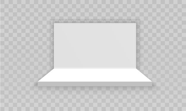 Stand d'exposition 3d promotionnel vide blanc.
