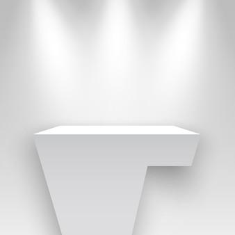 Stand d'exposition blanc éclairé par des projecteurs piédestal podium