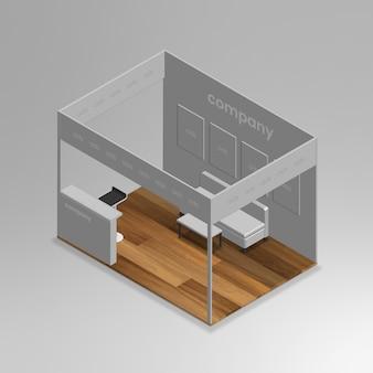Stand d'exposition isométrique 3d réaliste