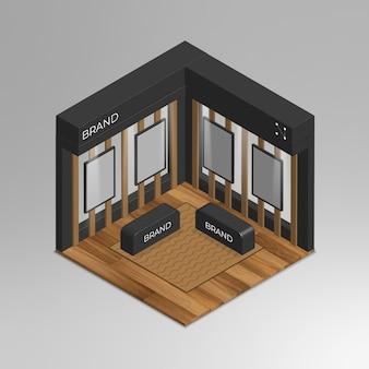 Stand d'exposition maquette vecteur isométrique 3d