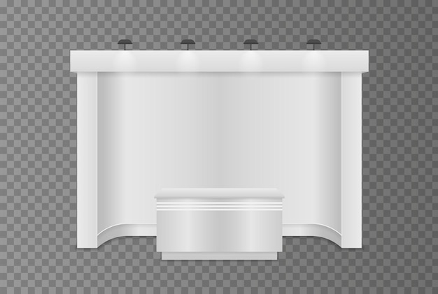 Stand d'exposition standard avec projecteurs.
