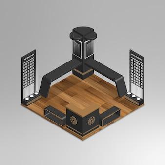 Stand d'exposition vecteur isométrique 3d