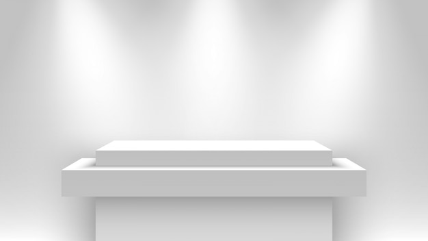 Stand d'exposition vierge blanc, éclairé par des projecteurs. piédestal. illustration.