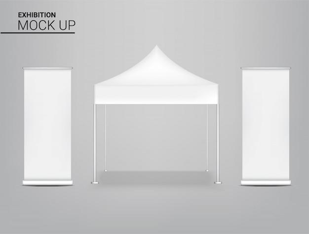 Stand de kiosque de tente réaliste avec bannière pour la promotion du marketing de vente