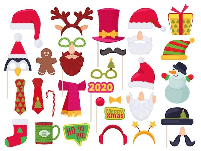 Stand De Noel Costumes De Personnages Droles De Vacances Et Chapeaux Pour Fete De Seance Photo Masque Santa Bonhomme De Neige Elfe Vecteur Vecteur Premium