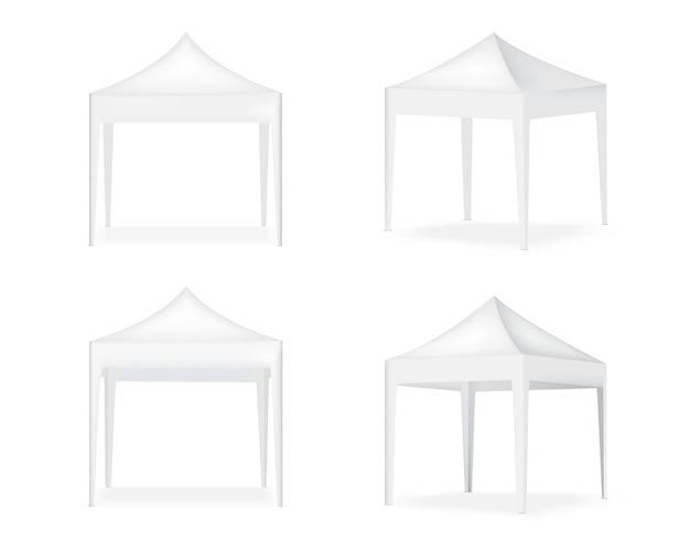 Stand de pop d'affichage de tente réaliste 3d à vendre illustration de fond d'exposition de promotion de marketing