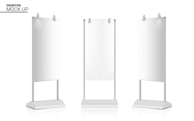 Stand réaliste enroulent la cabine 3d pop de l'affichage de kiosque de bannière avec le projecteur