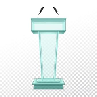 Stand réaliste de vecteur pour la conférence de presse