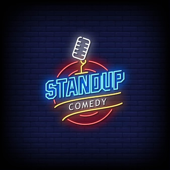 Stand up comedy neon signs style texte