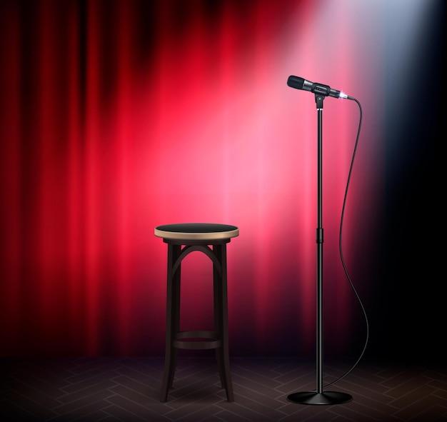 Stand up show comédie scène attributs image réaliste avec microphone tabouret de bar rideau rouge rétro illustration