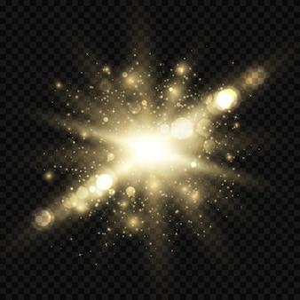 Star éclate d'étincelles et de bokeh. effet de lumière dorée w