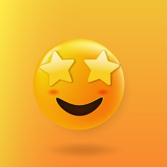 Star a frappé le visage mignon emoji avec des yeux d'étoile