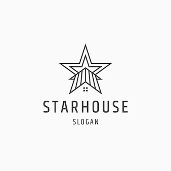 Star house line style logo icône design plat modèle vector illustration