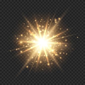 Starburst avec des rayons de soleil scintillants, bokeh et paillettes