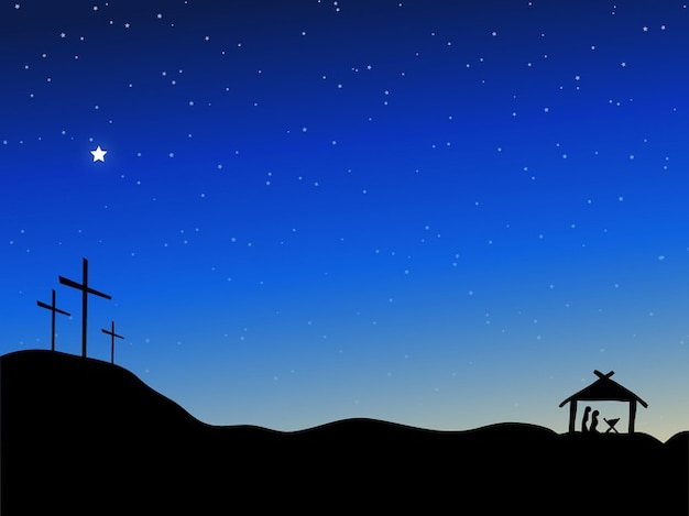 Starry night sky jésus religieuse vecteur