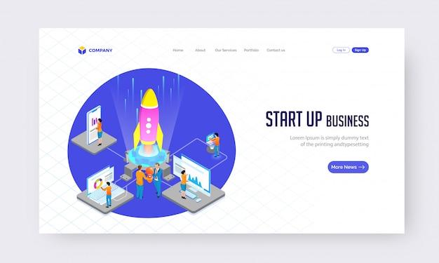 Start up business concept de site web ou conception de page de destination.
