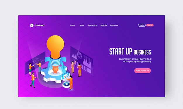 Start up business concept de site web ou conception de page de destination.
