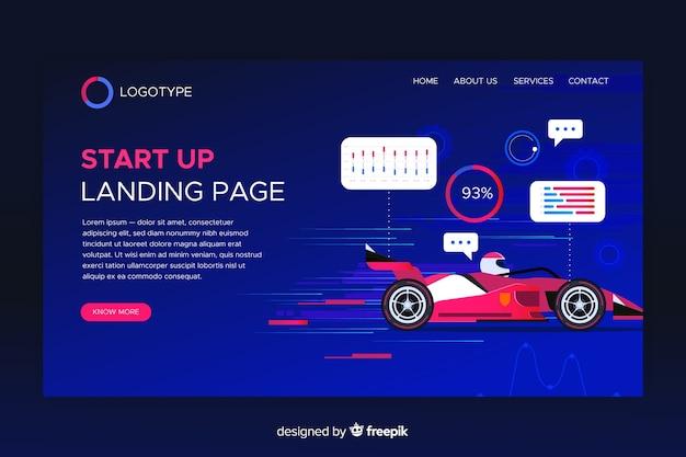 Startup page de démarrage avec voiture de course