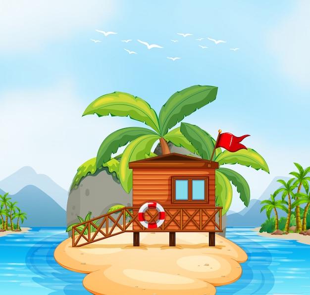 Station de bois sur l'île