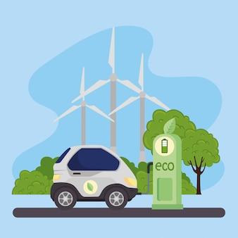 Station eco avec voiture et éoliennes vector design