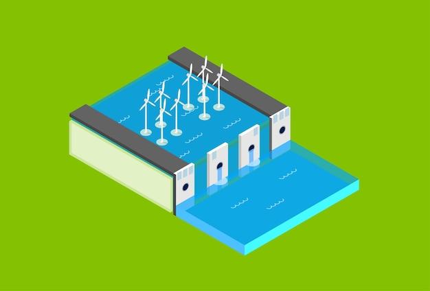 Station électrique de barrage d'eau
