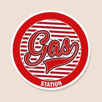 Station d'essence au cours de l'illustration vectorielle fond rose