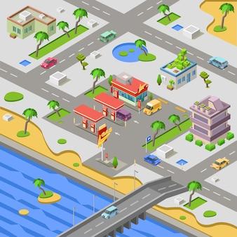 Station d'essence et carte de la ville, voitures au remplissage de la station-service