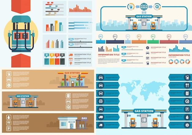 Station d'essence infographique. vecteur de station-service