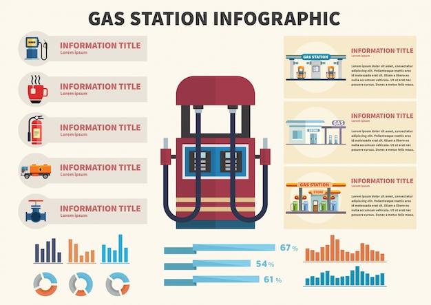 Station d'essence infographique.
