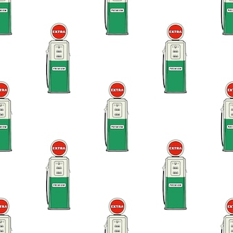 Station d'essence pompe sans soudure. modèle de station d'huile dessiné main vintage.
