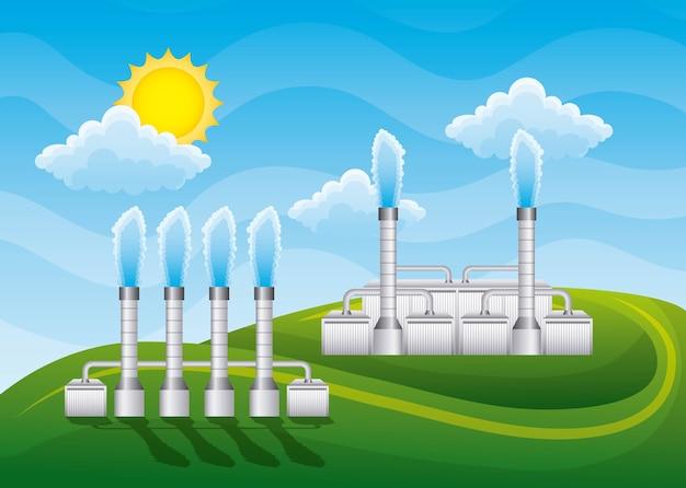 Station géothermique à énergie paysagère avec cheminées
