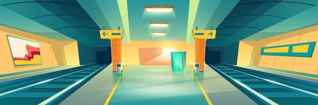 Station de métro, bannière de plate-forme de métro vide