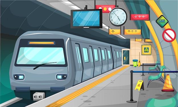 Station de métro avec plancher et panneau d'arrêt, chaises, poubelle de recyclage, balai, grande horloge et heure de la télévision