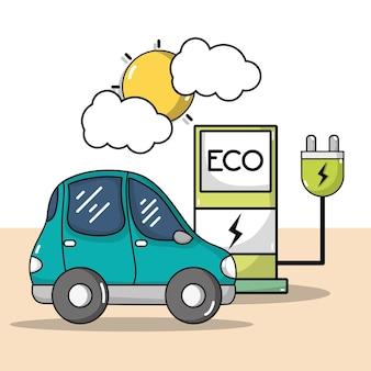 Station de recharge avec câble d'alimentation et voiture électrique