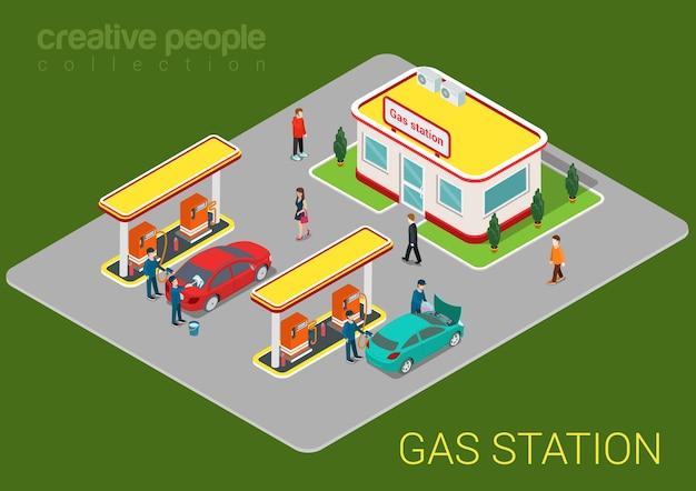 Station de recharge d'essence de pétrole et de gaz voitures et clients à plat 3d