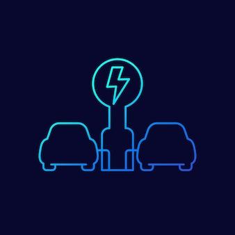 Station de recharge pour voitures électriques, icône de ligne ev