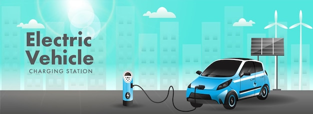 Station de recharge de véhicule électrique avec voiture 3d, panneau solaire, moulin à vent sur fond cyan et gris soleil. conception d'en-tête ou de bannière.