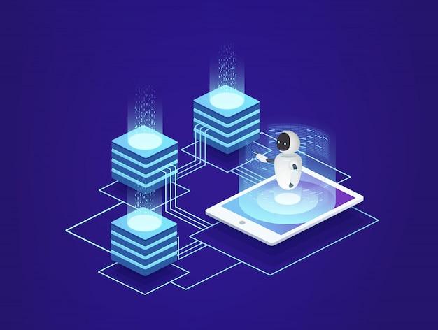 Station serveur, centre de données. technologies de l'information numérique sous contrôle de l'intelligence artificielle du robot à l'aide d'un smartphone.