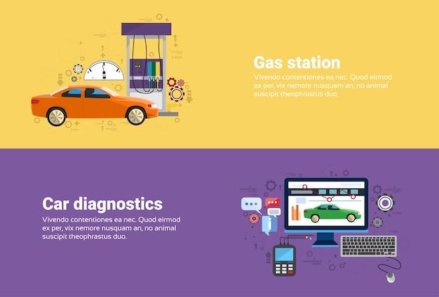 Station-service de gaz, voiture diagnostics service d'automobiles mécanique automobile business web bannière plat vector