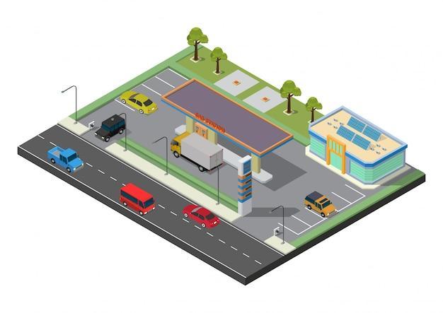 Station-service isométrique, réservoir de carburant de station-service, pompe à carburant, voiture, magasin, station de pétrole, essence. illustration.