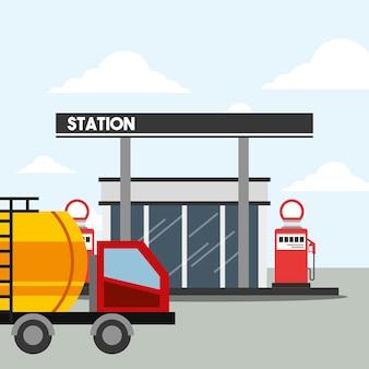 Station-service pompe et camion citerne industrie pétrolière
