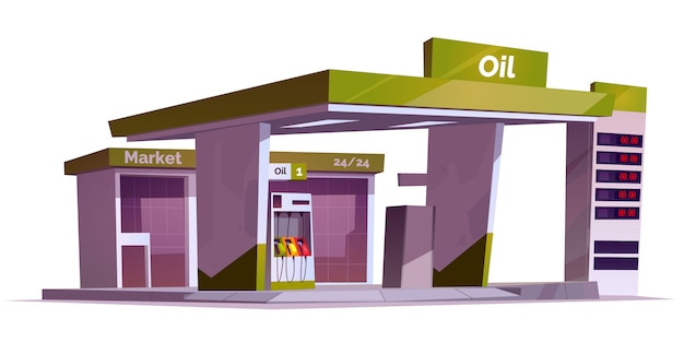 Station-service avec pompe à huile, affichage du marché et des prix.
