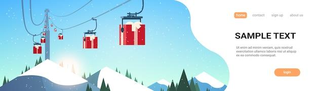 Station de ski avec coffrets cadeaux téléphérique dans les montagnes noël nouvel an vacances célébration hiver vacances concept paysage landing page