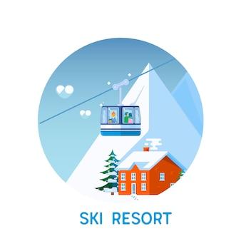Station de ski dans les montagnes, heure d'hiver, neige et fun.flat vector illustration