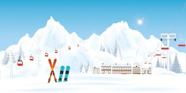 Station de ski avec téléphérique ou télésiège et téléski.