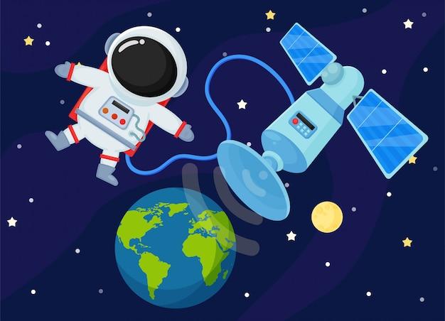 Station spatiale renvoie le signal sur terre.