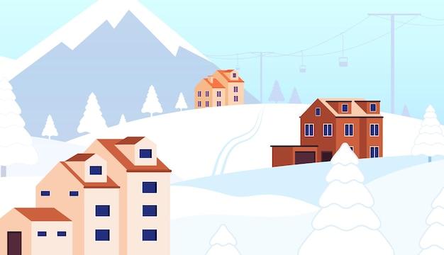 Station de vacances d'hiver. chalet de la forêt de neige, scène de noël avec remontée mécanique. paysage de chalet d'hôtel, loisirs dans l'illustration vectorielle de montagnes. neige de station d'hiver, voyage de paysage de saison