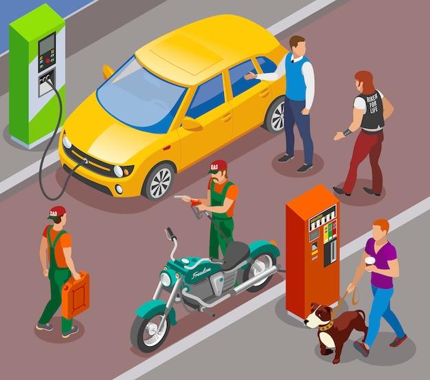 Les stations-service remplissent la composition isométrique avec des colonnes de remplissage d'essence pour voitures et motos avec des personnages